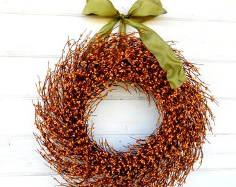 Fall Wreath-Fall Decor-Rustic MUSTARD & SAGE  Wreath-Autumn Door Decor-Thanksgiving Wreath-SCENTED Wreaths-Holiday Decor-Housewarming Gift