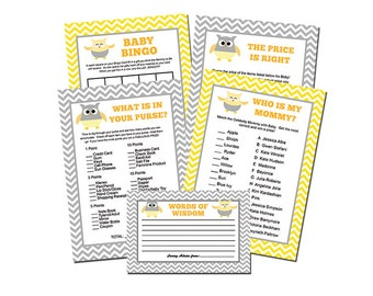 Owl Baby Shower Games INSTANT DOWNLOAD Printable - DIY Grey and Yellow Chevron Owls