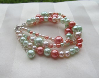 Bridesmaid Jewelry Set Multi-strand Orange and Mint Green Pearl Wedding Jewelry Set
