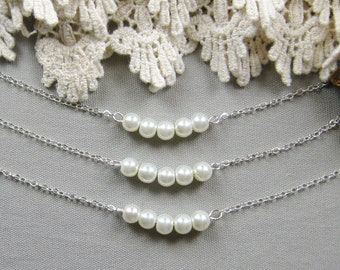 Simple chic pearl necklace, bridesmaid necklace, bridesmaid gift wedding jewelry - W041 (Choose your pearl colour)