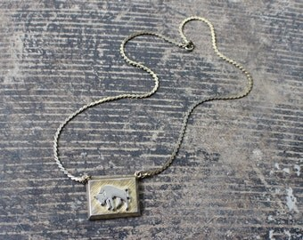 Bull Necklace / 1960's Costume Jewelry / Gold Tone Western Necklace