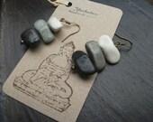 Zen garden earrings, Buddhist geek, gift, natural, balance, Buddha,