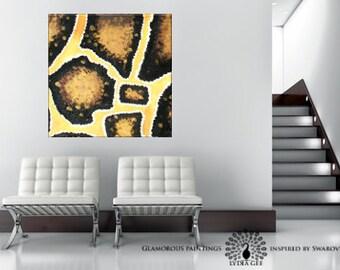 WILD no.3. Snake skin painting abstract art + golden glitter. Yellow art. Golden wall art. Snakeskin African art. African painting. Glamour.