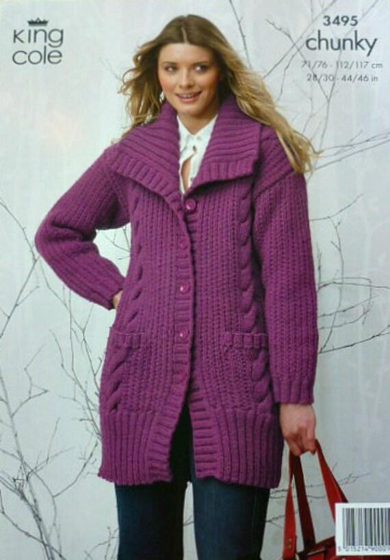 Knitting Pattern Ladies Long Coat : Womens Knitting Pattern K3495 Ladies Long Sleeve Cable ...