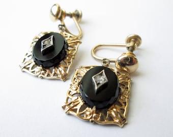 1930s Onyx and Rhinestone Dangle Earrings GF Signed CM
