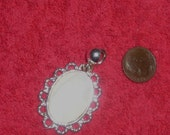 Mother Of Pearl Pendant  With Silver  Scalloped Edges