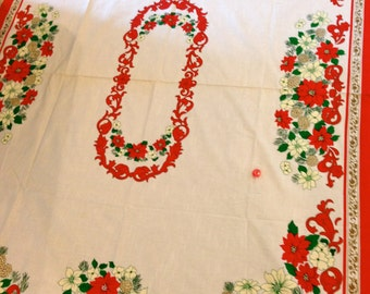 White with red christmas poinsettia border rectangle tablecloth vintage