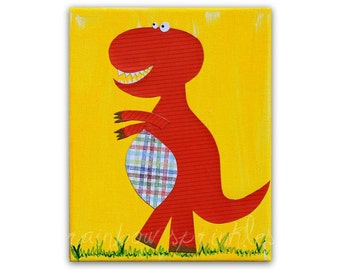Children's Wall Art Print 8x10- dinosaur, boy, Nursery Art, Nursery Room Decor, Kids Art, Kids Room Decor