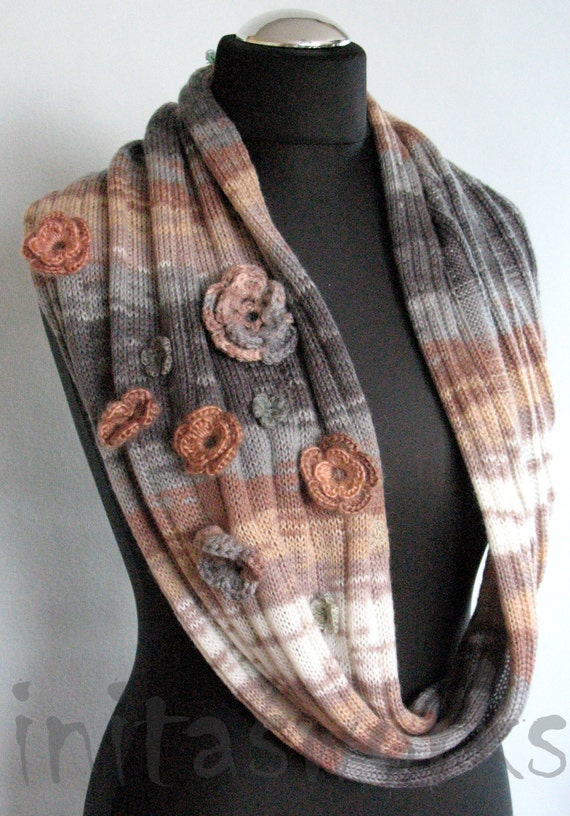 Brown Striped Infinity Scarf Cowl Wrap Beige Gray and Crocheted Flower