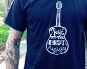 Music T Shirt - Hand Screen Printed On American Apparel - Black T Shirt
