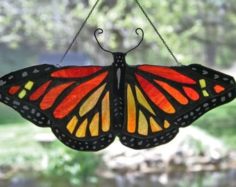 Large Stained Glass Monarch Sun Catcher