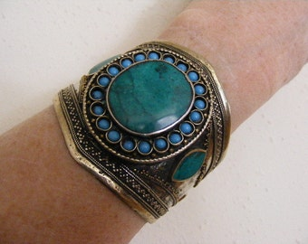 SALE....Was 42.75...Now 32.75...Vintage Blue and Green Turquoise Chrysocola Turkoman Bracelet  Lot 3192