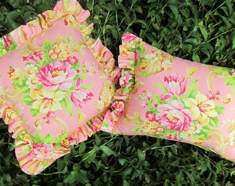 Set of Two Pink Floral Pillow covers with Hidden Zippers