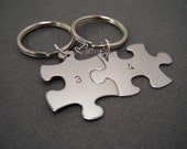 Custom Number Keychains, Puzzle Piece Keychains, Couples Keychains, Personalized Keychains, For Couples, Wedding GIft