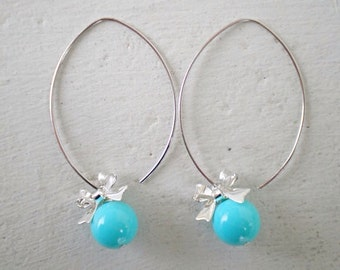 Aqua Blue Earrings/Turquoise Earrings/Bow Earrings/Blue Bridesmaid Earrings/Gifts For her/Turquoise Bridesmaid Earrings/Aqua Earrings
