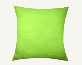 """Decorative Pillow Case, Green-Yellow color Decorative fabric Throw pillow cover, fits 18"""" x 18 insert, Toss pillow cover, Cushion cover."""