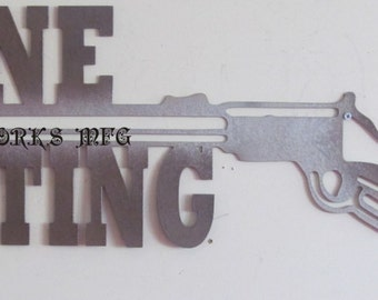 "Gone Hunting Gun Metal Sign.  9""x24"""