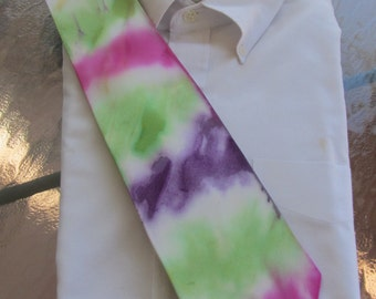 Tie Dye Tie  in  Spring Watercolors including Easter Egg pinks, purples and green