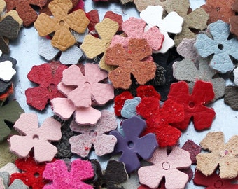 Leather flower die cuts 100 small blossoms wholesale variety of colors DIY Pet, Cat, Dog Collar Applique genuine leather