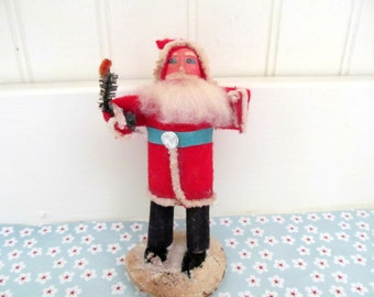 Vintage Small Clay Face Santa Claus with Tree, Felt, Chenille Belsnickle Miniature Putz Santa, Made in Japan