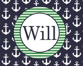 Personalized Anchors Navy Placemat