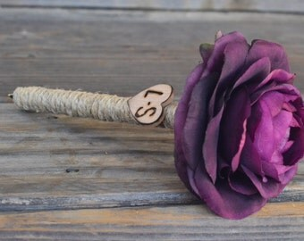 Shabby Chic Plum Ranunculus Guest Pen with wood heart with bride and groom initials other colors available