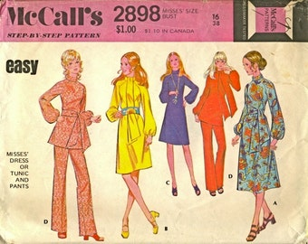 1971 Sewing Pattern McCall's 2898 Misses dress, tunic, pants size 16 bust 38