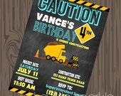 Construction Birthday Invitation, Printable Construction invite, Dump Truck invitations