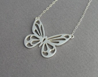 Butterfly  Necklace Pendant  - Sterling Silver - Butterfly Jewelry - Handmade Jewelry