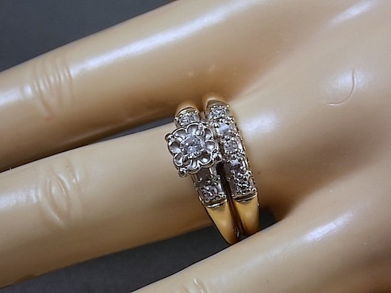 1940s Diamond Wedding Ring Set 41ctw Two Tone Gold 14k 5 6gm