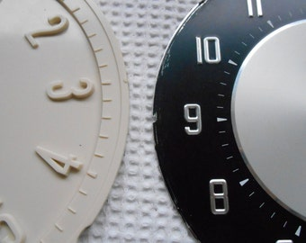 2 Vintage Clock Faces 1950s 60s Metal Plastic Retro Cool