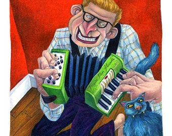 Frying Pan Hands is of an accordionist with his blue cat