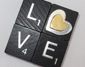 LOVE Fridge Magnet - Black Scrabble Tiles with Heart