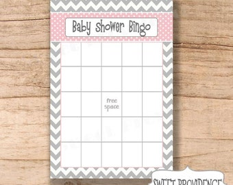 Baby Shower Bingo Card/ Grey Chevron/PINK Baby Shower Bingo Game Card