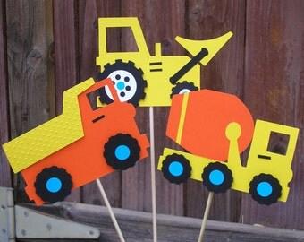 Construction Theme Centerpiece Picks, Bulldozer, Dump Truck and Cement Mixer (set of 3)