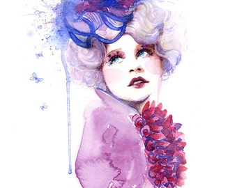 Watercolor Art Print - Fashion Makeup, Hat, Elizabeth Banks, Effie, Purple