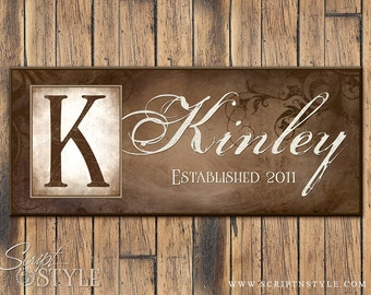 Personalized Last Name Sign, Family Established Sign, Family Name Sign with Monogram & Established Date