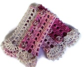 Crocheted Lace Cuffs - Bracelet  -Romantic Gloves - Stylish Handmade Cuff