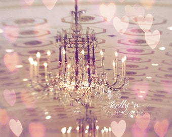 Chandelier Photography, Pink Hearts, Feminine Decor, Boudoir Decor, Romantic Photo, Mayflower Hotel Photo, Pink Chandelier Print,