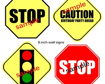 Instant download TRAFFIC Signs 8 inch Printable Party decoration signs Digital File