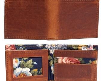 Handmade Walnut Leather Mens Bifold Wallet