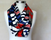 Nautical Striped Infinity Scarf - Unisex Loop Scarf - Circle Scarf - Spring Fall Fashion - Women Teens Accessories