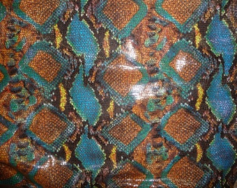 """Leather 6 Pack of 4""""x6"""" BROWN TROPICAL Python Multicolored SHINY Snake embossed Cowhide 2.5-2.75 oz /1-1.1  mm PeggySueAlso™"""