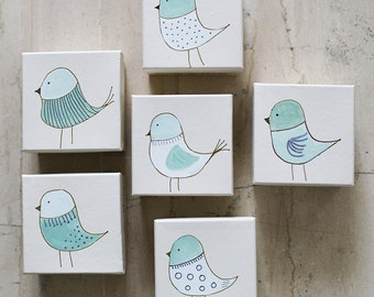 Party Favors - Hand painted Baptism Favors Boxes - Baptism Gift Boxes - Little Bird - Baby Shower