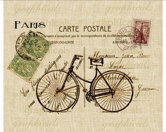 Bicycle Paris decor instant clip art digital download Carte Postale for iron on fabric transfer to burlap pillow tote Paper Decoupage  D11