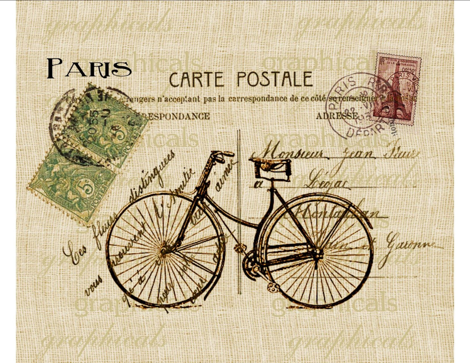 bicycle paris decor instant clip art digital download carte postale for iron on fabric transfer. Black Bedroom Furniture Sets. Home Design Ideas