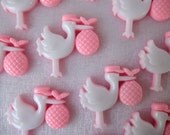 "1 "" Pink Stork Baby Charms, Embellishment, Baby Shower Favors, Card Making, Gift Box Favors, Favor Accents, 24 pieces"
