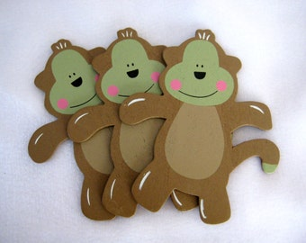 Monkey Wooden Animal Ornaments for Safari / Jungle Themed, Baby Shower Centerpieces, Birthday Party Favors, Baby Room Decor