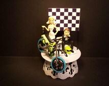 Motorcycle Dirt Bike Bride and Groom W/Die-Cast MXS Sea Creature Motocross Bike and Helmet Funny Bike Wedding Cake Topper