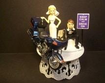 Motorcycle Harley FLT Tour Glide Blue Bike Bride and Groom Funny Wedding Cake Topper